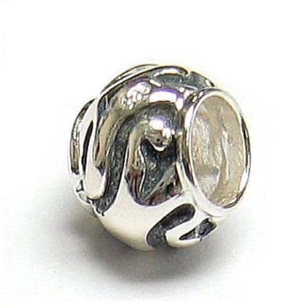 Queenberry Sterling Silver Swirl Round Focal European Bead Charm 15229477