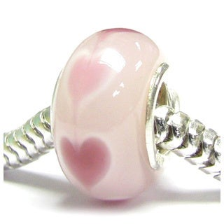 Queenberry Sterling Silver Pink Heart Murano Glass Focal European Bead Charm