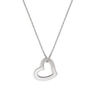 14K Gold Squared Floating Heart Pendant