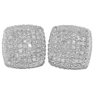 Sterling Silver 5/8ct TDW Diamond Square Earrings (G-H, I1-I2)