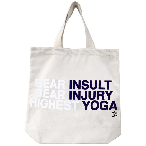 'Bear Insult Bear Injury Highest Yoga' Mantra Eco-cotton Canvas Tote