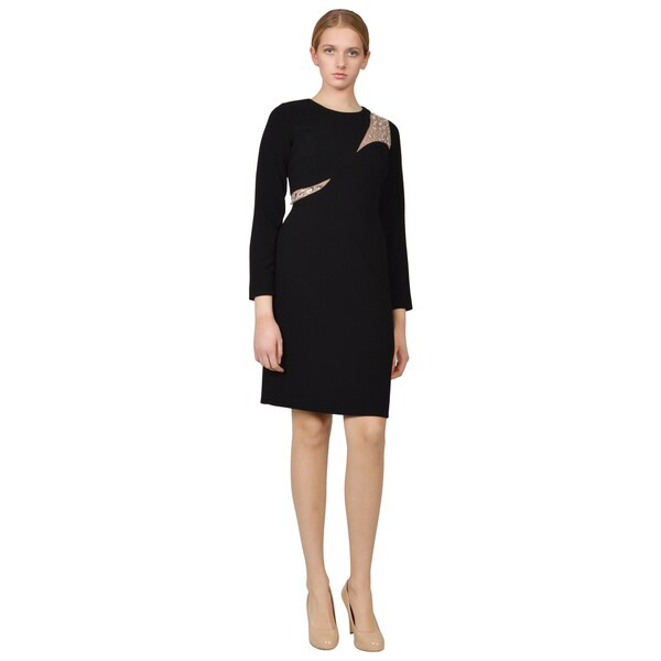 Teri Jon Black Jewel Embellished Illusion Panel Long Sleeve Cocktail Dress