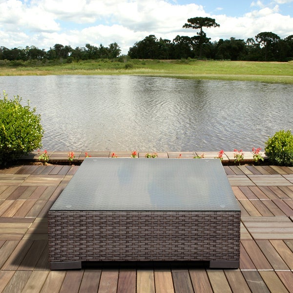 Atlantic Treviso Grey Synthetic Wicker Square Coffee Table with Tempered Glass Top