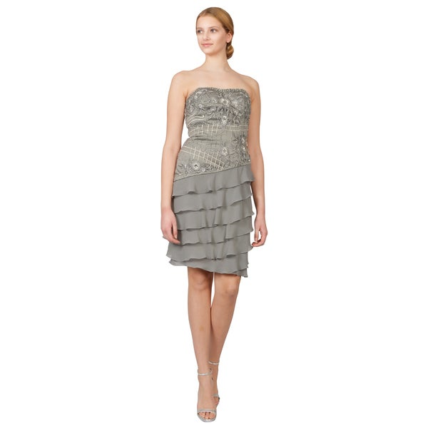 Sue Wong Platinum Beaded Strapless Asymmetric Tiered Ruffle Cocktail Dress
