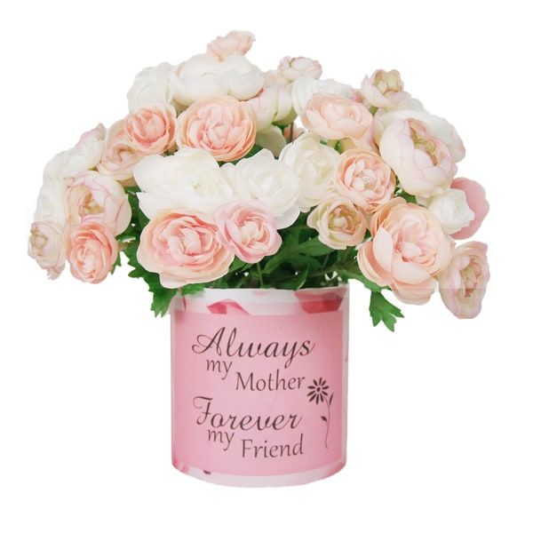 Light Pink Ranunculus Silk Flower Bouquet in Embellished Mother's Day Vase