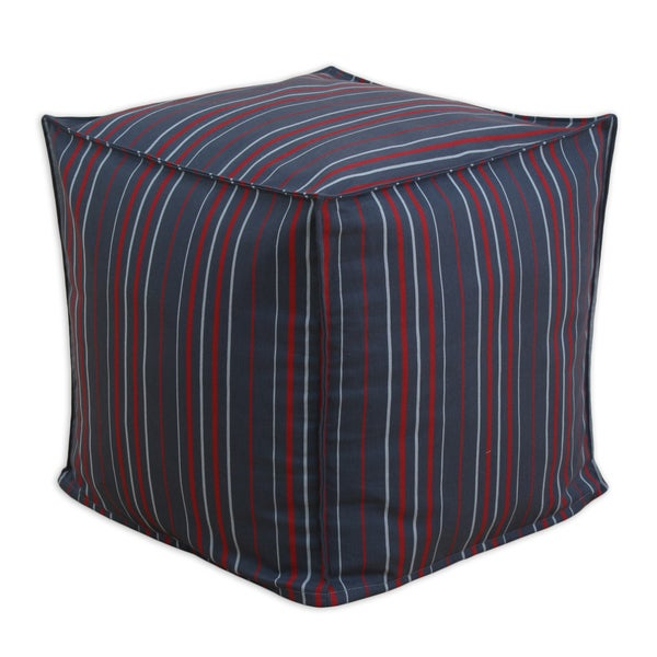 Somette Multi Stripe Charcoal Ottoman