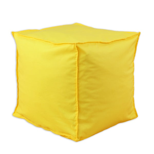 Somette Solid Corn Yellow Square Seamed Ottoman