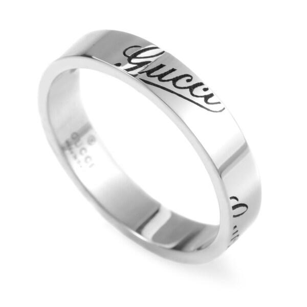 Gucci 18k White Gold Thin Signature Ring