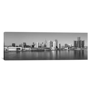 iCanvas Detroit Panoramic Skyline Cityscape (Black & White) Canvas Print Wall Art