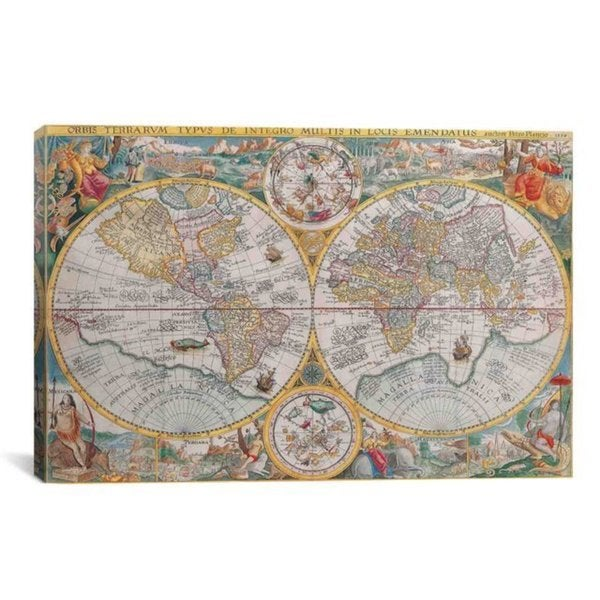 iCanvas Antique Map of The World 1594 Art Print #7014 Canvas Print Wall Art