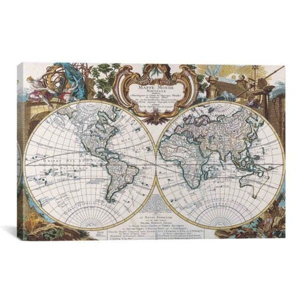 iCanvas Antique Double Hemisphere Map of The World Art Print #7015 Canvas Print Wall Art