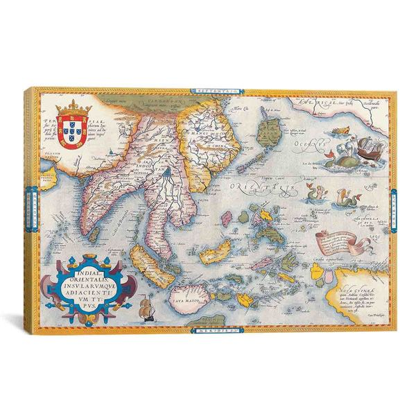 iCanvas Antique Map East Asia Art Print #7024 Canvas Print Wall Art