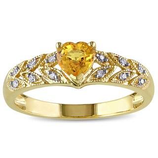 Miadora 10k Yellow Gold Yellow Sapphire Diamond Accent Ring