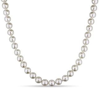 Miadora 14k Yellow Gold Akoya White Pearl Necklace (7.5-8mm)