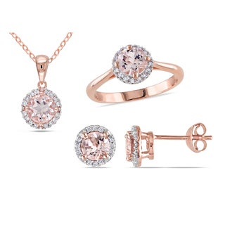 Miadora Rose Plated Sterling Silver Morganite and 1/4ct TDW Diamond Halo Earrings, Ring and Necklace Jewelry Set (H-I, I2-I3)