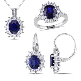 Miadora Sterling Silver Created Blue and White Sapphire 1/10ct TDW Diamond Jewelry Set (G-H, I2-I3)