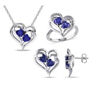 Miadora Sterling Silver Created Sapphire 1/10ct TDW Diamond Heart Jewelry Set (G-H, I2-I3)