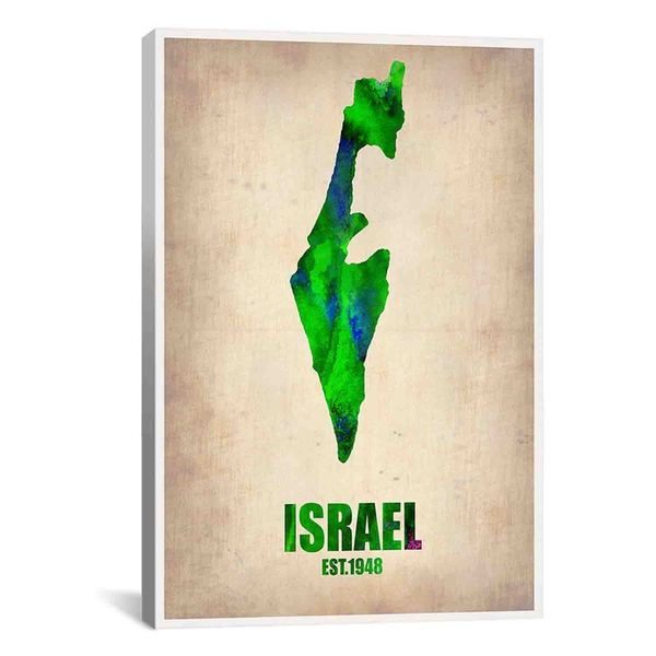iCanvas Naxart Israel Watercolor Map from Naxart collection Canvas Print Wall Art