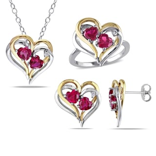 Miadora Sterling Silver Created Ruby and 1/10ct TDW Diamond Heart Earrings, Ring and Necklace Set (G-H, I2-I3)