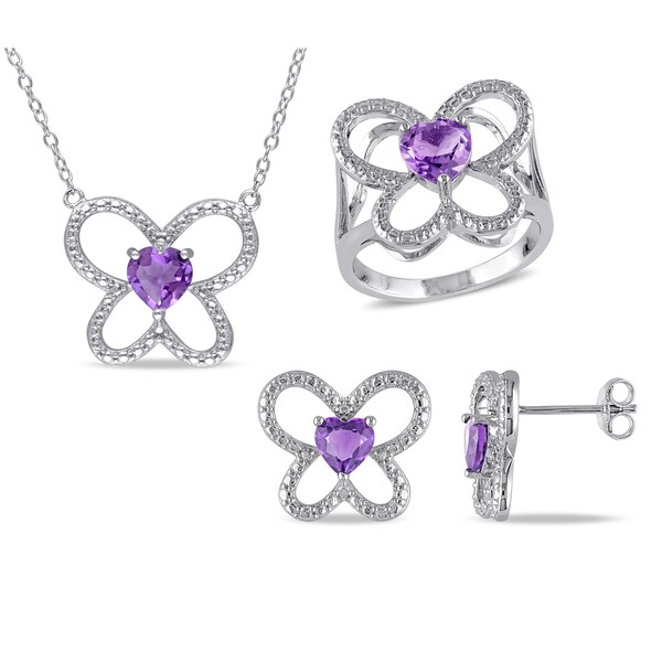Miadora Sterling Silver Amethyst Flower Jewelry Set