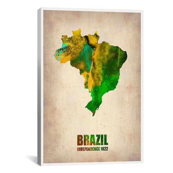 iCanvas Naxart Brazil Watercolor Map from Naxart collection Canvas Print Wall Art