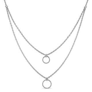 Haylee Jewels Sterling Silver 1/10ct TDW Diamond Circle Necklace (G-H, I2-I3)