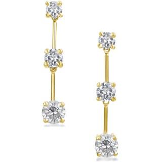 SummerRose 14K Gold 1.50ct. TDW Graduated Diamond Dangle Earrings (H-I, SI1-SI2)