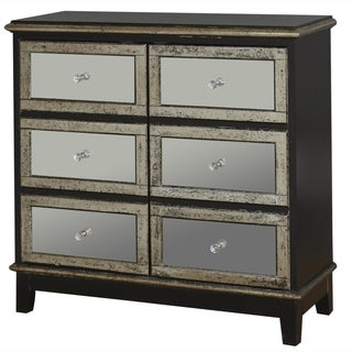 Hand Painted Distressed Black Finish Mirrored Accent Chest