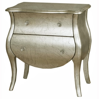 Hand Painted Distressed Silver/Gold Crackle Finish Bombay Accent Chest