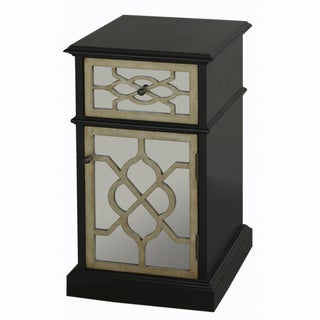 Hand Painted Black Finish Mirrored Accent Chest