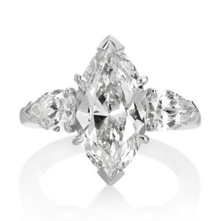 SummerRose Platinum 5 1/3ct TDW Diamond 3-stone Engagement Ring (L-M, VS1-VS2)