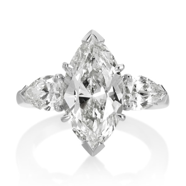 SummerRose Platinum 5 1/3ct TDW Diamond 3-stone Engagement Ring (L-M, VS1-VS2)