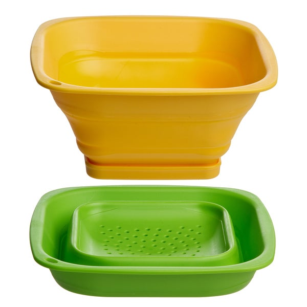 Progressive International Yellow, Green Collapsible Square Mini Colander with Removable Base (Set of 2)