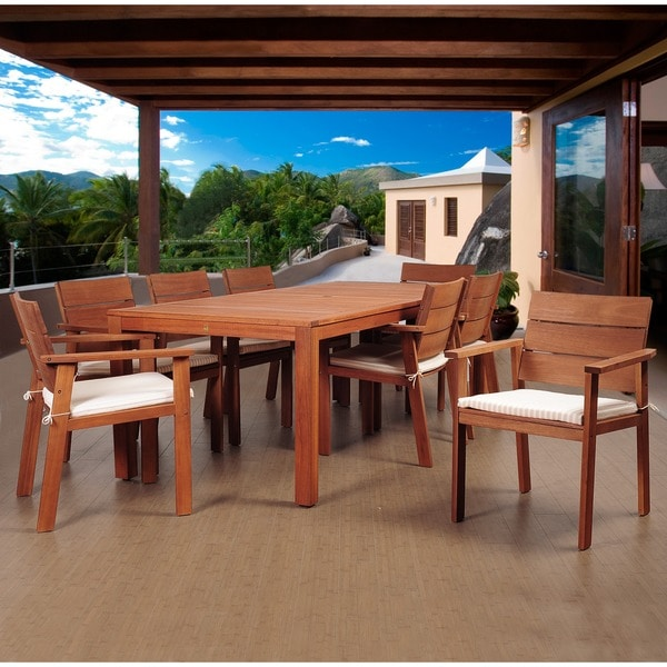 Amazonia Terranova 9-Piece Eucalyptus Rectangular Patio Dining Set with Beige and Off-White Cushions