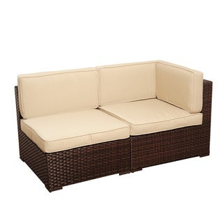 Atlantic Modena 2-piece Brown Wicker Set with SUNBRELLA Antique Beige Cushions