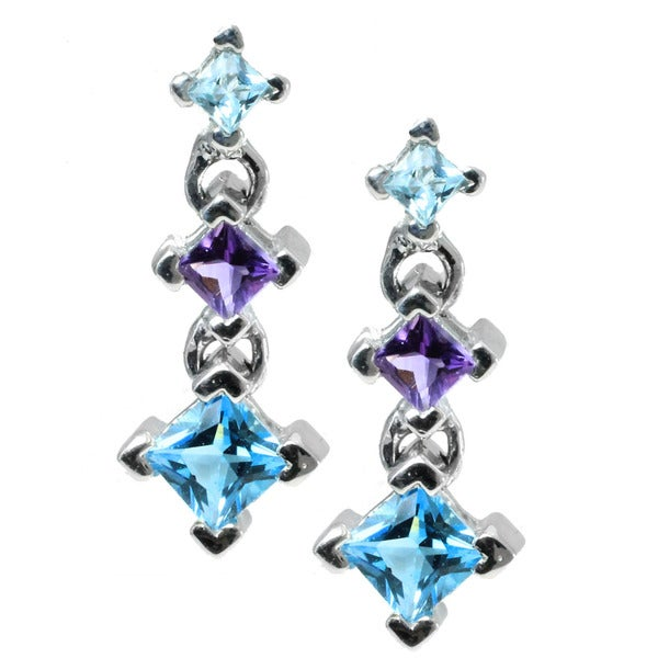 Michael Valitutti 14k White Gold Blue Multi-gemstone Earrings