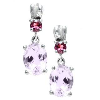Michael Valitutti 14k White Gold Kunzite Pink Tourmaline Diamond Accent Earrings