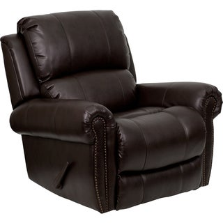 Flash Furniture Brown Bonded Leather Nailhead Trim Motion Recliner