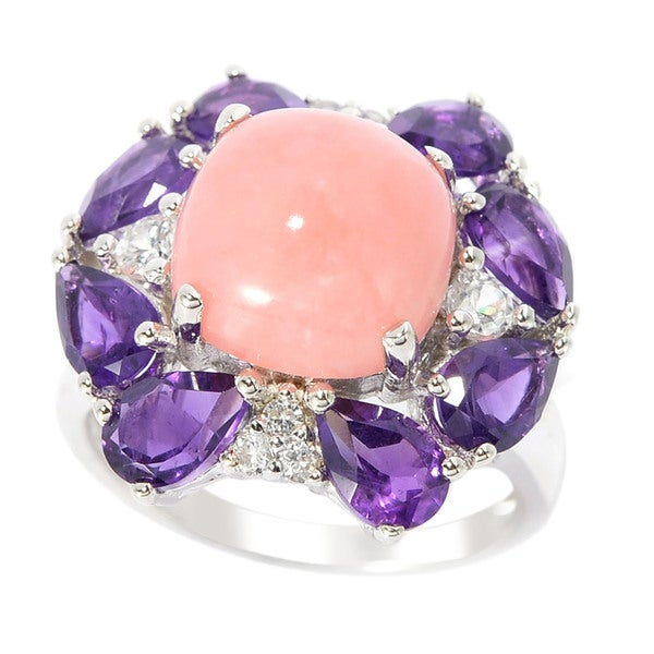 Sterling Silver 10mm Pink Opal Pear-cut Amethyst and White Zircon Ring