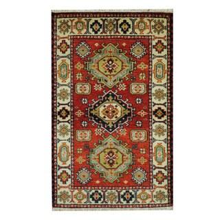 Herat Oriental Indo Hand-knotted Tribal Kazak Red/ Ivory Wool Rug (3'2 x 5'1)