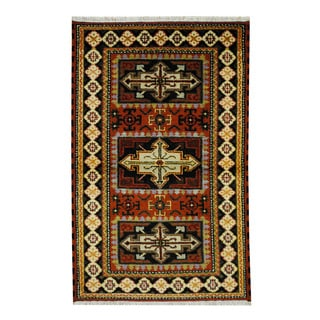 Herat Oriental Indo Hand-knotted Tribal Kazak Red/ Black Wool Rug (3' x 4'10)