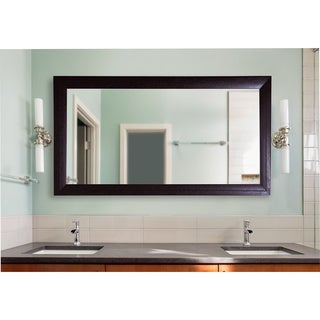 American Made Rayne Espresso Leather Double Vanity Wall Mirror