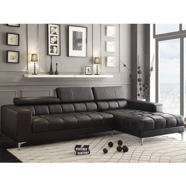 lark black bonded leather sectional with adjustable headrest and chaise overstock shopping. Black Bedroom Furniture Sets. Home Design Ideas