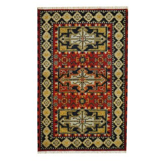 Herat Oriental Indo Hand-knotted Tribal Kazak Red/ Navy Wool Rug (3'2 x 5')