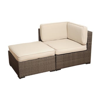 Atlantic Modena 2-piece Grey Wicker Seating Set with Off-White Cushions