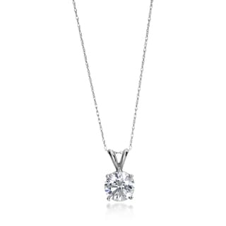 SummerRose 14k White Gold 2ct TDW Certified Solitaire Diamond Necklace (G-H, SI2-SI3)