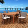 Amazonia Tramonti 7 Piece Eucalyptus/Wicker Rectangular Patio Dining Set with Off-White Cushions