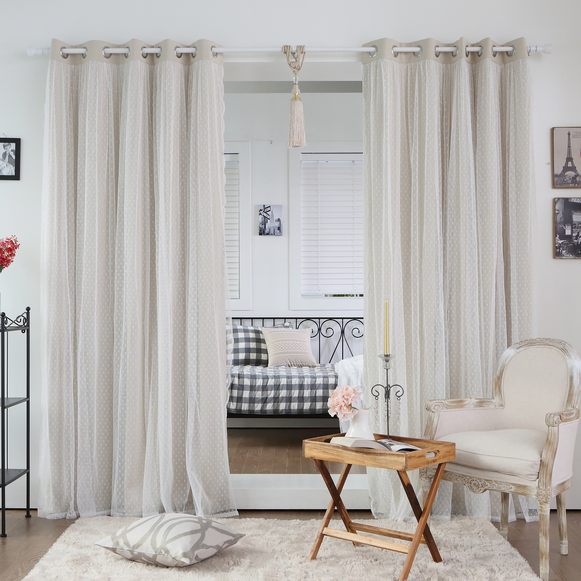 ... Lace Overlay Thermal Insulated Blackout Grommet Top Curtain Panel Pair
