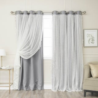 Aurora Home Dotted Lace Overlay Thermal Insulated Blackout Grommet Top Curtain Panel Pair