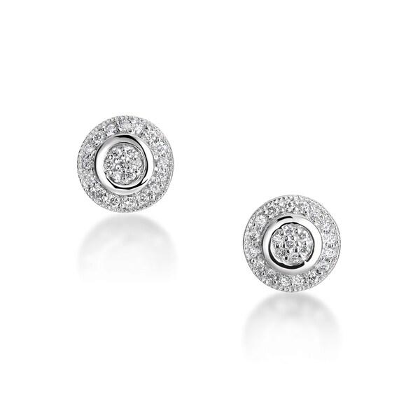 Summerrose 14kt White Gold Pave Set Earrings Hi Si1si2 image